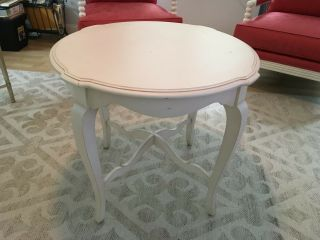 Ethan Allen Country French Maison Round Table - White Antique Distressed Wood