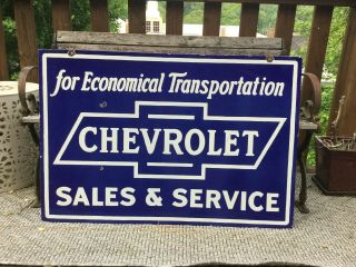 Large Vintage Double Sided Chevrolet Porcelain Sign