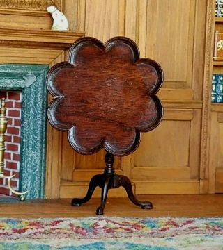 Antique Vintage Dollhouse Miniature Artisan Scalloped Edge Tilt Top Table 1:12