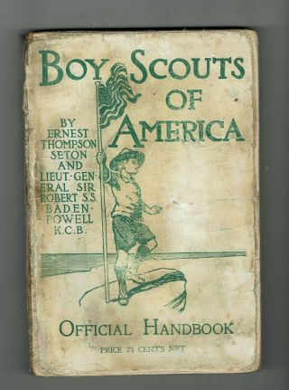 Rare 1910 Boy Scout Handbook 2 Authors - - Variation 2 109 Years Old