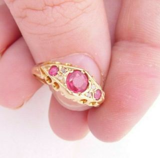 18ct Gold Rose Cut Diamond & Ruby Art Deco Ring,  Chester Jh,  18k 750