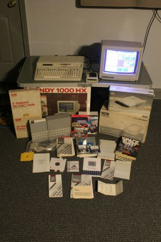 Vintage Tandy 1000 Hx Pc Computer With Box Monitor Games & 5.  25 360k