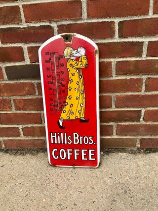 Hills Bros.  Coffee Thermometer Porcelain Sign.  Rare Vintage