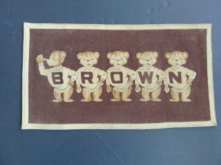 Vintage Brown University Felt Banner Pennant Flag With Brown Bears