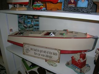 TOY WOOD BOAT ORKIN CRAFT 29.  INCHES ITO BATTERY OPERATED BOAT K&O VINTAGE1930S 2