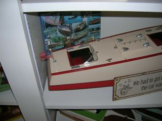 TOY WOOD BOAT ORKIN CRAFT 29.  INCHES ITO BATTERY OPERATED BOAT K&O VINTAGE1930S 3