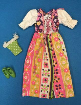 1972 Vintage Kenner Blythe Doll Pleasant Peasant Dress Outfit Clothes Shoes