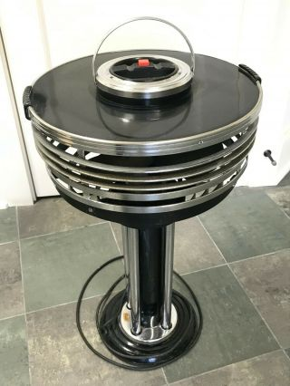 Vintage Art Deco Chrome Metal Ashtray Stand With Fan,  Circulair By Kisco