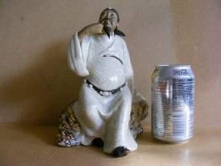 Vintage Chinese Mud Man Daoist Immortal Cao Guo Jiu Crackle Glaze Figurine