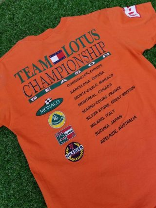 Vtg Rare 90s Tommy Hilfiger Team Lotus Racing Championship Season Orange Shirt M
