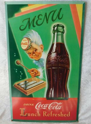 Vtg Rare 1949 Coca Cola Sprite Boy Litho Cardboard Advertising Poster Sign 27 ""