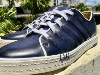 Men's Berluti Playfield Hand - Crafted Navy Blue/white Sneakers Uk11 Us11.  5 Rare