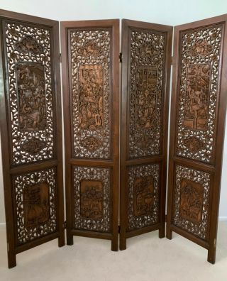 Vintage Hand Sculpted,  Solid Wood Asian Room Divider/screen,