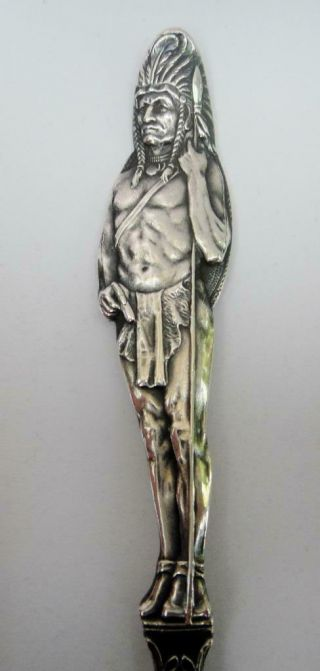 Antique Large Size Sterling Silver Souvenir Spoon Full Figural Indian Handle