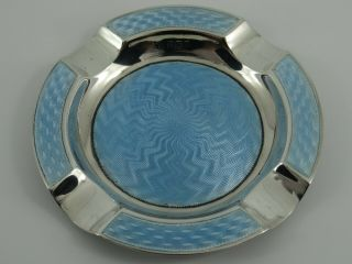 V Rare Solid Sterling Silver Art Deco Guilloche Enamel Ashtray Birmingham 1929