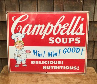 """Vintage Campbell's Soups Advertising Metal Sign Country Store Display 22""""x17"""""""