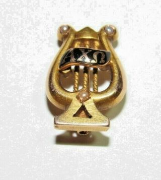 Vintage Alpha Chi Omega Lyre Sorority Pin 14k With Three Seed Pearls