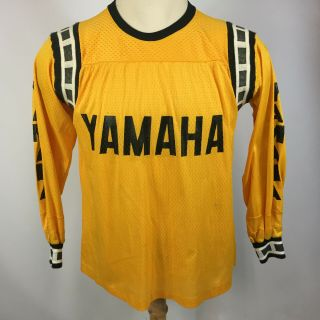 Rare Vintage 60s 70s Team Yamaha Racing Motocross Dirt Bike Jersey T Shirt Ylw