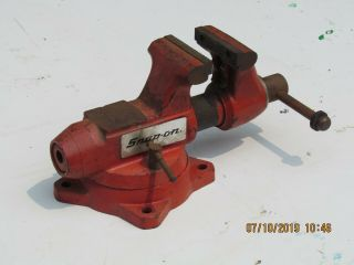 Vintage Snap On Machinists Bench Vise W/ Swivel Base - Model 1740