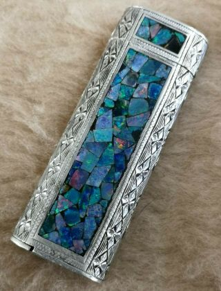 Rare Cartier Paris.  925 Sterling Silver Opal Mosaic Design Lighter Collectors