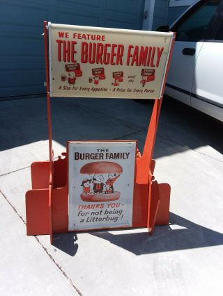 Vintage A&w Restaurant Burger Family Display Stand