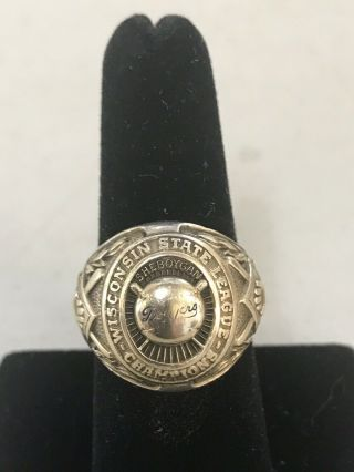 Vtg 1957 Wisconsin State League Champion Baseball Team Ring 1957 Dodgers 10kt