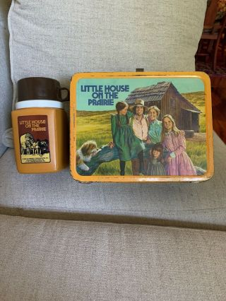 Little House On The Prairie Vintage Metal Lunch Box W/thermos 1978