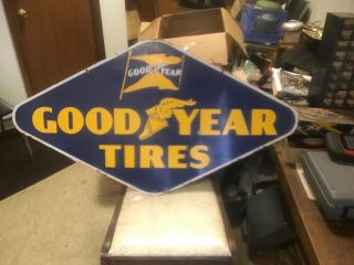 """Large Vintage 1950s Goodyear Tires 48 """" Porcelain Embossed Metal Sign Doublesided"""