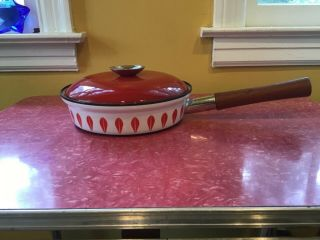 Vintage True Red And White Enamelware Lotus Pan With Teak Handle