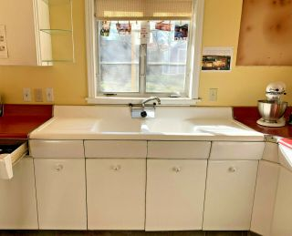 1950 Avco American Kitchens Metal 15 Cabinets Sink Full Set Vintage Mid - Century