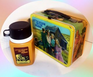 Vintage 1978 Little House On The Prairie Metal Lunch Box And Thermos