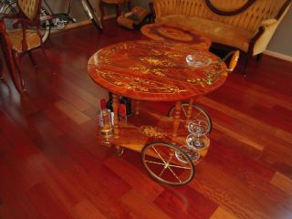 Vtg Italy Bar Tea Cart Marquetry Inlaid Wood Serving Drop Leaf Wine Rack