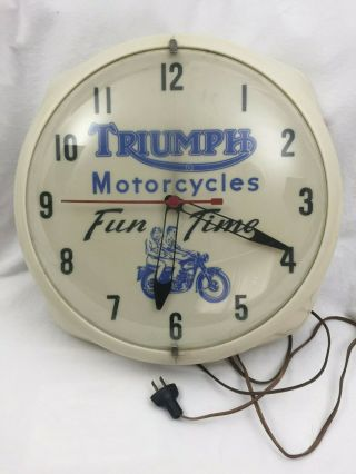 Vintage Triumph Motorcycle Illuminted Dealer Clock Sign