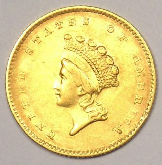 1854 Type 2 Indian Dollar Gold Coin (g$1) - Au Details - Rare Type 2 Coin
