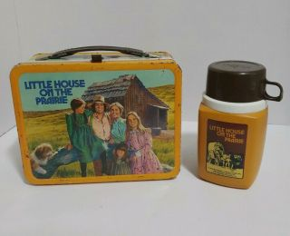 Little House On The Prairie Metal Lunch Box With Thermos Vintage 1978