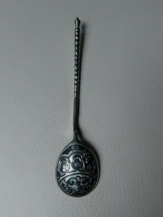 Rare Antique Russian Imperial 84 Silver Black Enamel Spoon,  Stamped & Dated,  20g