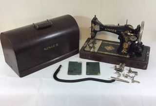 Vtg 1920's Singer Electric Sewing Machine Model 128 W/ Wood Case & Accessories