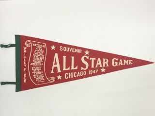 1947 All Star Pennant Vintage Wrigley Field Chicago Red Scroll Ex Nm Cond