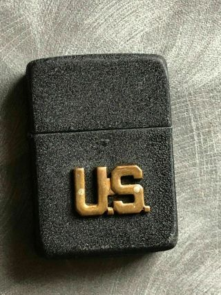 Rare 1942 4 Barrel Black Crackle Unfired 14 Hole Insert Us Badge Zippo