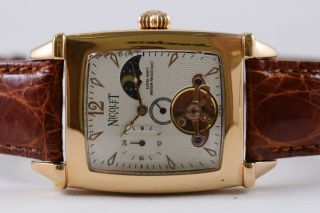 Mens Nicolet Gold - Tone Moon Phase Alligator Band Automatic Watch Center Second