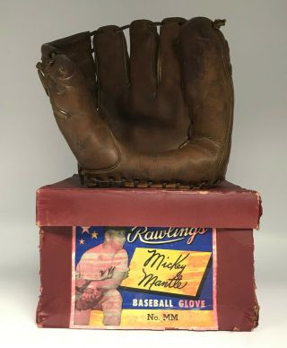 Vintage Mickey Mantle Rawlings Mm Baseball Glove W/ Box Ny Yankees Hof