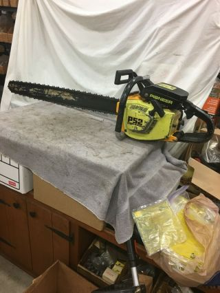 """Vintage Pioneer P - 52cb Chain Saw With 36 """" Bar & Chain"""