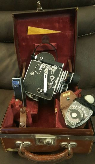 Vintage Paillard Bolex H16 16mm Swiss Movie Camera 3 Lens Case & Incident Light