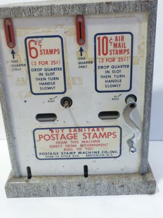 Vintage Postage Stamp Machine Co.  Ny Vending Machine 6 Cents/10cents