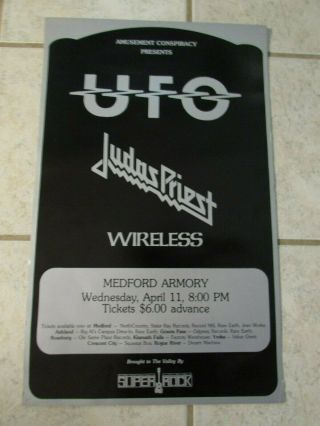 Extremely Rare Orig 1978 Ufo Judas Priest Hell Bent For Leather Tour Poster