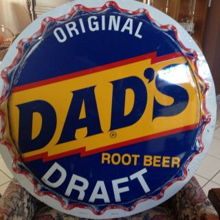Vintage Dads Draft Root Beer 29.  5in Button Sign Soda Pop Gas Station Stunning