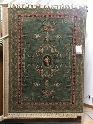 "Raymond Waites Vintage Look Wool Rug 5'3""x7'8"" Green Red Palacial"