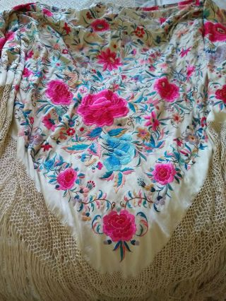 Vintage Edwardian Chinese Silk Embroidered Shawl