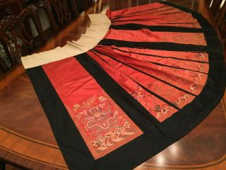 Important Chinese Qing Dynasty Imperial Phoenix Dragon Embroidered Silk Skirt.