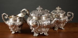 4454 Grams Gorgeous Heavy Sterling Silver.  915 Tea Coffee Set Portugal Repousse